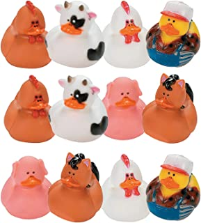 Fun Express Farm Animal Rubber Duckies | 12 Count | Great for Party Favors, Children's Birthday Bash, Animal-Themed Parties