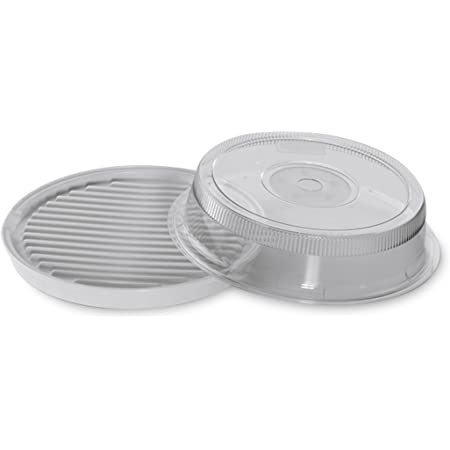 Renewed Nordic Ware Microwave 2-Sided Round Bacon and Meat Grill and 10-Inch Deluxe Microwave Plate Cover