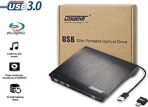 OSGEAR USB 3.0 TYPE C Slim External 6x Blu-Ray BD CD DVD RW ROM 3D Writer Burner Drive Windows MAC Laptop Desktop PC Tray Loading Portable Enclosure Housing Box Case Copy Duplicate Clone Disc Support