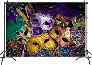 Sensfun 10X8 FT Vinyl Carnival Masquerade Photography Backdrop Purple Green Gold Mardi Gras Mask Photo Backgrounds for Masquerade Party Studio Props