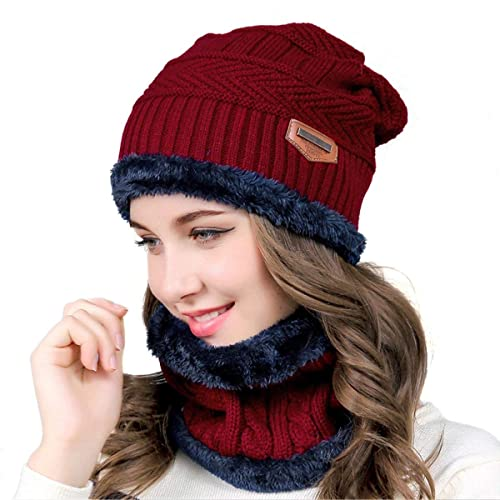 732d6ad434e90 HIDARLING Winter Warm Knitted Beanie Hat and Circle Scarf Set Fleece Liner  Skull Cap Outdoor Sports