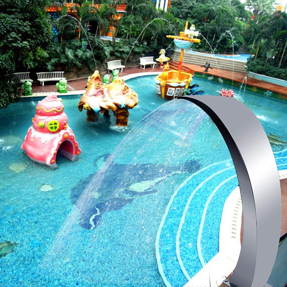 hELIuZW Fuente de Piscina de Cascada de Acero Inoxidable 350x105 mm para Piscina de jardín, Fuente de Mini Piscina para decoración al Aire Libre: Amazon.es: Jardín
