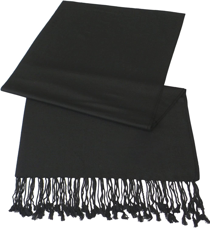 Black Pashmina Shawl Scarf Wrap Stole Throw,Black,One Size