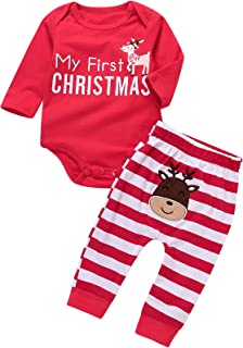 Xmas Newborn Baby Boy Girl 2PCS Christmas Deer Striped Jumpsuit Costume Outfits