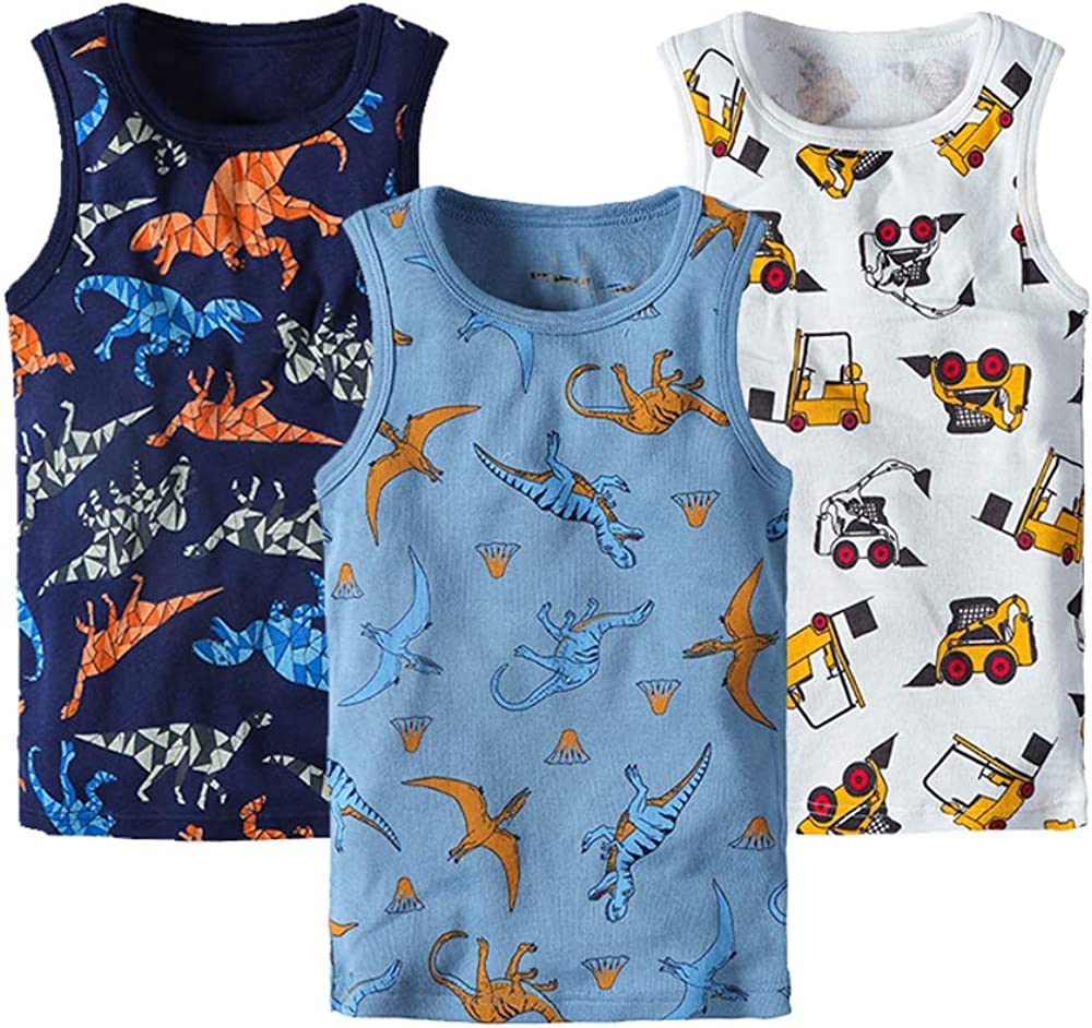 Huaer) Toddler Boys' 2-3 Pack Tank Tops (Dark Blue Dinosaur, 4T)