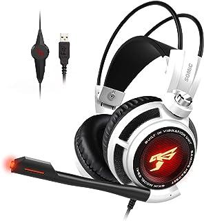 Fone de ouvido para jogos SOMIC G941 para PS4, PC e Lapto: som surround virtual 7,1 com microfone omnidirecional e control...
