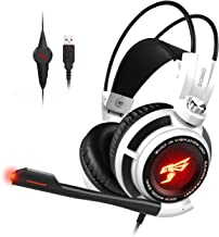 SOMIC G941 Gaming Headset for PS4, PC and Lapto: 7.1 Virtual Surround Sound with Omnidirectional Mic & Volume Control | LED, USB, Lightweight & Comfortable Over Ear Headphones for Professional Gamers
