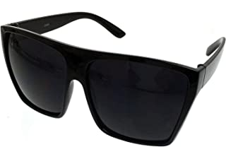 All Black Flat Top Oversized Square Kim Sunglasses UV Protection