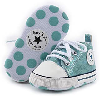 myggpp Tutoo Unisex Baby Boys Girls Star High Top Sneaker Soft Anti-Slip Sole Canvas Denim Shoes, B02-sequins Green, 3-6 Months Infant