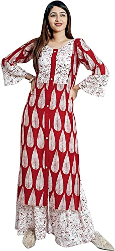 Rudraksh Fashion Women s Red White Color Pure Rayon Anarkali Kurtis