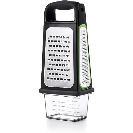 OXO Good Grips Râpe quatre faces avec zesteur et récupérateur amovibles – Râpe pour la cuisine en acier inoxydable -Noir - Vert