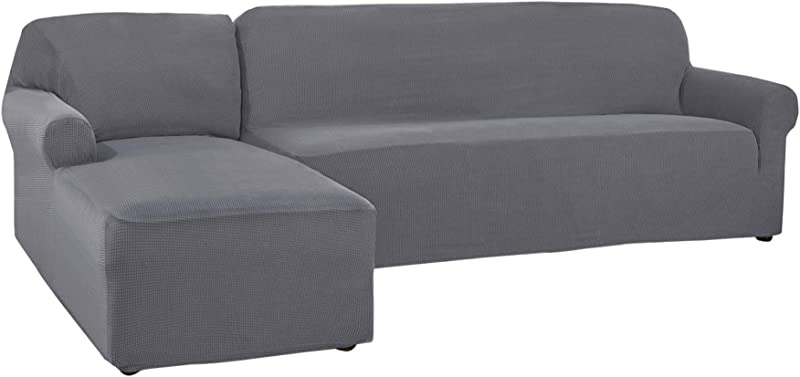 CHUN YI 2 Pieces L Shaped Jacquard Polyester Stretch Fabric Sectional Sofa Slipcovers Left Chaise 2 Seats Light Gray