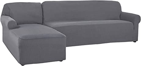 CHUN YI 2 Pieces L-Shaped Jacquard Polyester Stretch Fabric Sectional Sofa Slipcovers (Left Chaise(2 Seats), Light Gray)