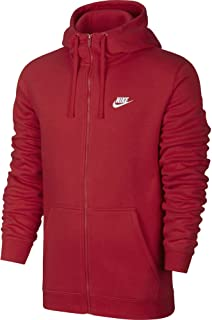 1590710a Nike Mens Sportswear Full Zip Club Hooded Sweatshirt University Red/White  804389-657 Size