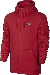 Mens Sportswear Full Zip Club Hooded Sweatshirt University Red/White 804389-657 Size 2X-Large