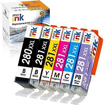 Starink Compatible Ink Cartridge Replacement for Canon 280 281 XXL PGI-280XXL CLI-281XXL for Pixma TS9120 TS8120 TS8220 TS8320 TS9100 TS8100 TS8200 TS8300 Printers (6-Pack, PGBK, Photo Bule, BK,C,M,Y)