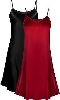 قطعتين من Genuwin من الحرير للسيدات قميص نوم بأكمام قصيرة للنساء S ~ 2XL
