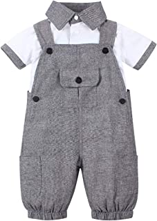 Baby Clothing Set Gentlemen Style 1-5T Boys Formal Outfits T-Shirt with Bow Top Overall Pants 2 Pcs Dress Suit (Dark Gray,...