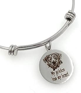 My Golden Retriever Has My Heart Engraved Expandable Bangle Bracelet