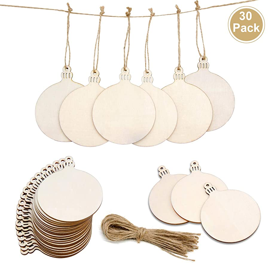 30PCS Wooden Ornaments Unfinished,Natural Wood Slices with Holes for DIY Arts and Crafts/Christmas Ornaments/Coasters/Festival Decorations.
