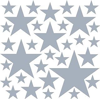 PREMYO Set de 32 Stickers Muraux Enfants Étoiles - Autocollants Décoration Murale Chambre Bébé - Facile à Poser Gris