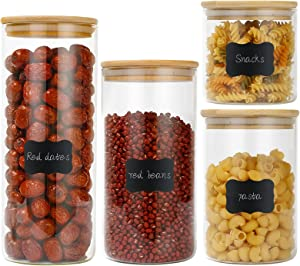 Glass Jars Set 4Pcs, Astoryou Spice Jars with Bamboo Airtight Lids Silicon Ring and Labels, Air Tight Kitchen Food Cereal Clear Canister Container for Kitchen Storage Grains Seeds Coffee Flour, 625/500/375/250ml