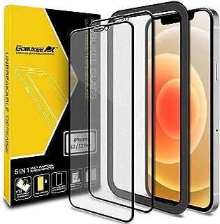 GOBUKEE [2枚] iPhone 12 / iPhone 12 Pro ガラスフィルム [ANTI-GLARE] アンチグレア さらさら マット 保護フィルム 反射防止/指紋防止/ガイド付き/貼り付け簡単 [フルカバー] iPhone12...