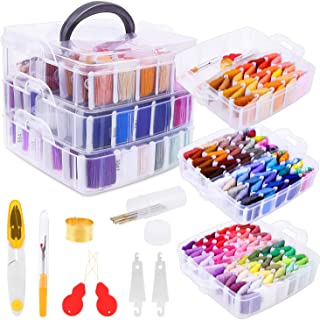 Embroidery Floss Friendship Bracelet String with Organizer, Shynek 199 Pcs Embroidery Kit Include 162 Colors String for Br...