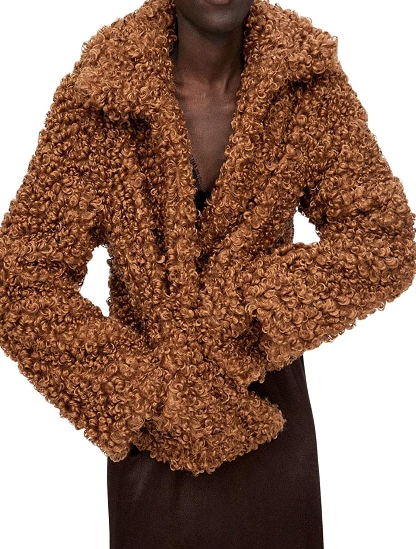LEISHOP Women Winter Fuzzy Fleece Open Front Cardigan Jacket Coat with Pockets