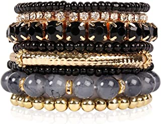 RIAH FASHION Multi Color Stretch Beaded Stackable...