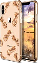 Coolwee for iPhone Xs Max Case Rose Gold Pineapple Floral Case for Women Girl Men Foil Clear Design Shiny Glitter Hard Bac...