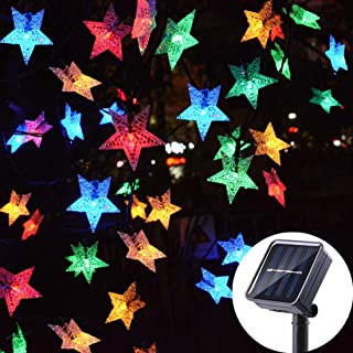 Huacenmy Outdoor Solar Star String Lights 30ft 50LED Multicolor Star Twinkle Lights Solar Powered Garden Decor Lights Playhouse Lawn Patio Landscape Decor Lights for Christams Spring Summer Party