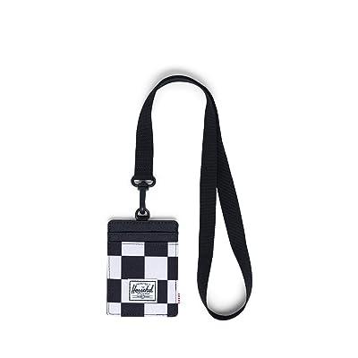 Herschel Supply Co. Charlie Wallet Lanyard RFID (Checker Black/White/Black Lanyard/Black) Wallet Handbags