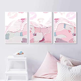 Set of 3 Canvas Wall Art, Nordic Modern Pink Abstract Oil Painting Style Wall Art Picture Print Poster for Girl Room Decor...
