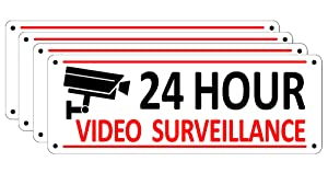 (4 Pack) Video Surveillance Sign, Home Security Signs for House Business, 10 x 3.5 inches Aluminum Warning Signs Outdoor Fence, 24 Hour CCTV Sign for Yard, Reflective Metal Camera Sign Rust Free