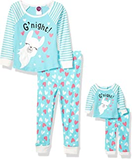 Girls' Snug Fit Pajamas with Matching Doll Outfit, 4-Piece