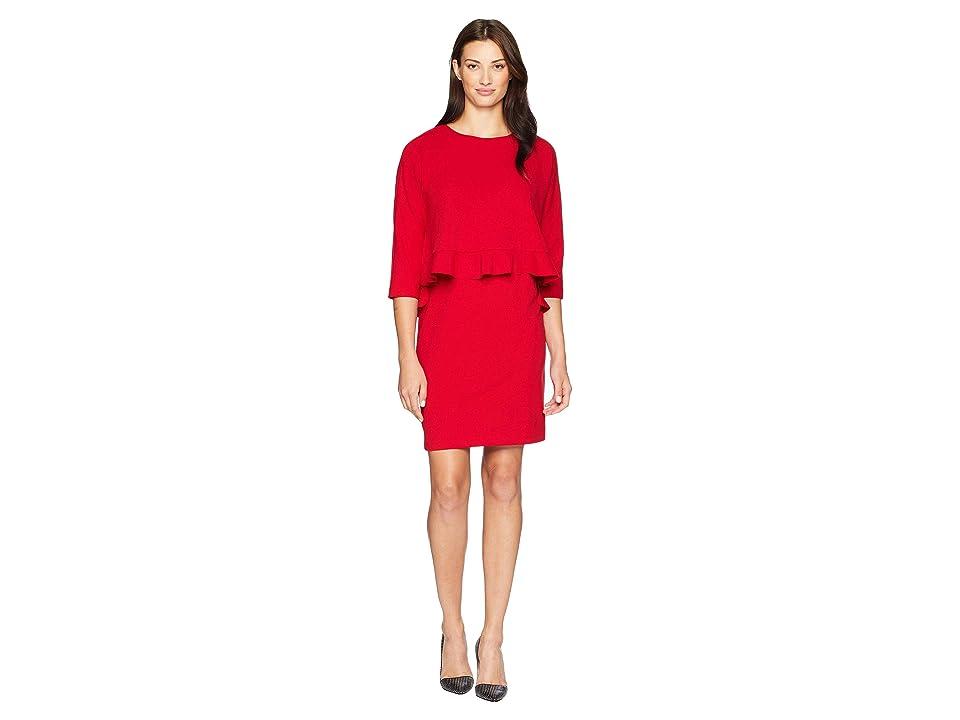 Taylor Popover Ruffle Hem Dress (Scarlet) Women