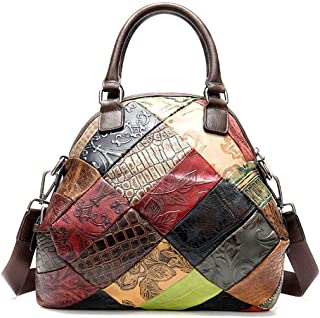 Simple portable female bag, leather cross-body bag, contrast shoulder bag, must-have versatile item out of the street, large-capacity travel bag, retro variegated