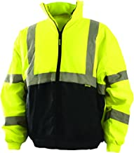 OccuNomix LUX-250-JB-BYL High Visibility Quilted Black Bottom Bomber Jacket with 2 Front Pockets, Class 3, 100% ANSI Polyester, Large, Yellow