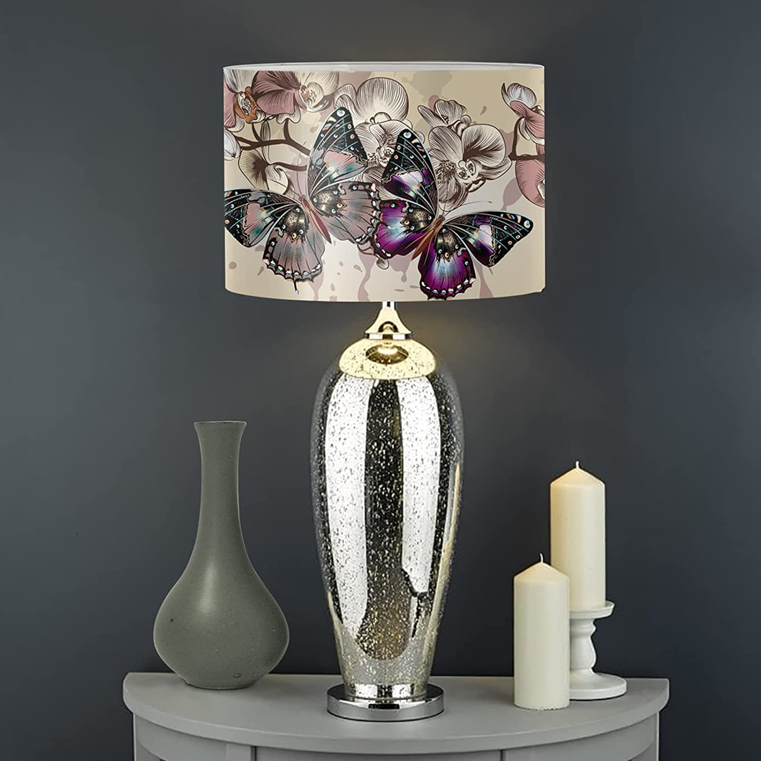 JEOCODY Butterfly Floral Lamp Indianapolis Large special price !! Mall Shades Metal Frame Universal with