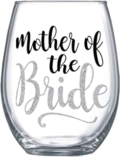 Mother of the bride gifts from daughter Stemless wine glass gift Glitter design for mom #91