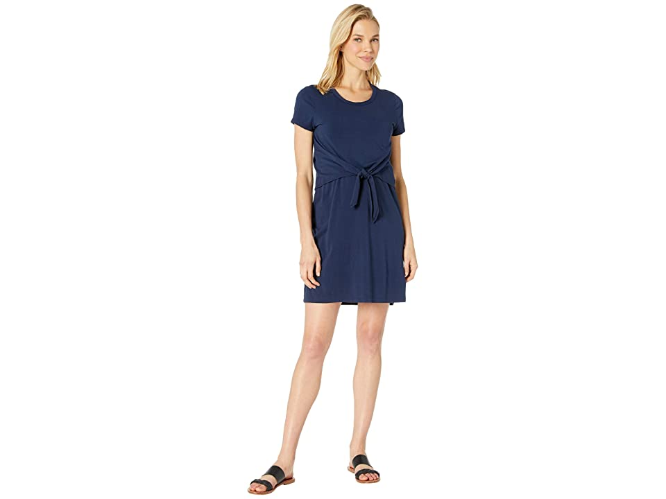 Mod-o-doc Short Sleeve T-Shirt Dress with Tie Front in Cotton Modal Spandex Jersey (True Navy) Women