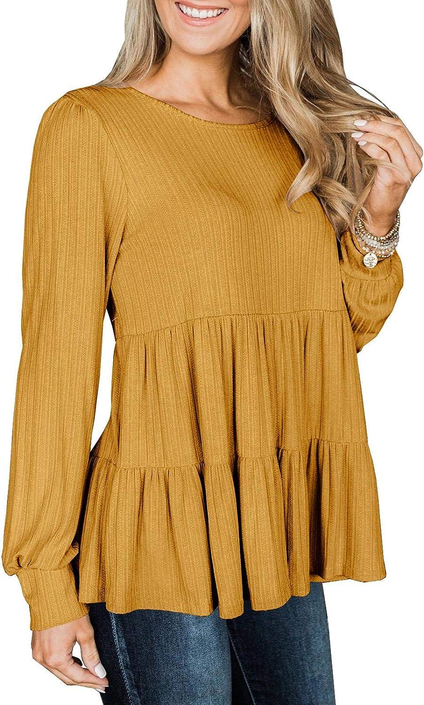 Modershe Womens Long Sleeve Tunic Babydoll Knit Tops Peplum Ruffle Hem Blouse Loose Casual Shirt Flowy Swing Shift