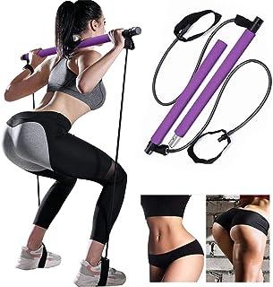 Bssay Yoga Exercise Pilates Bar Portable Yoga Pilates Bar Kit Pilates Yoga Stick Pilates Exercise Stick with Resistance Ba...