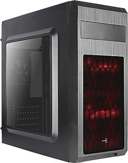 Aerocool SI5101AD - Caja gaming para PC (semitorre, ATX, panel lateral acrílico, 7 ranuras de expansión, incluye 2 ventiladores frontales LED rojo 12cm y trasero 8cm, USB 2.0/3.0), color negro
