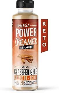 Omega PowerCreamer - Cinnamon Keto Coffee Creamer with MCT Oil - with Grass-fed Ghee, Organic Coconut Oil, Stevia - Liquid Butter Blend - Paleo, Ketogenic, Sugar Free, 10 fl oz (20 servings)