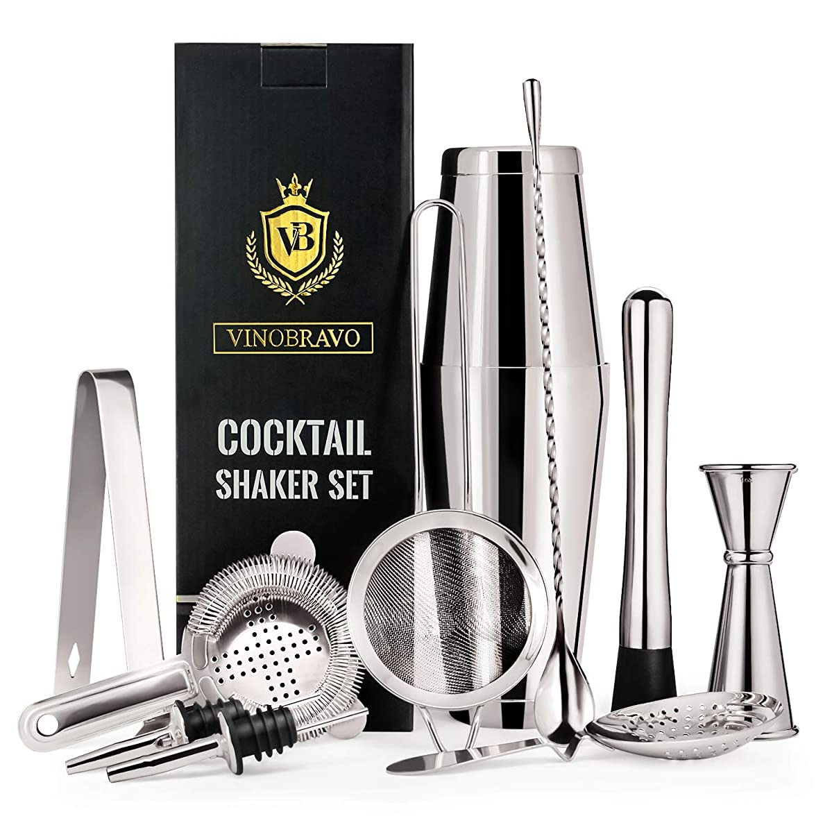 Vinobravo 11-Piece Boston Cocktail Drink Shaker Set Made from 304 Stainless Steel Bar Tools Bartender Kit with Recipe of 30 Classic Mixing Drinks