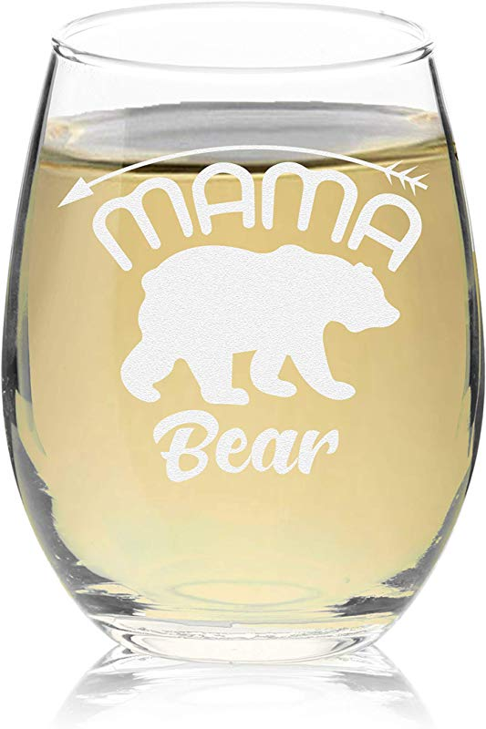 Veracco Mama Bear Arrow Stemless Wine Glass Funny Birthday Mother S Day Gift For Mom Grandma Stepmom From Daughter Son Stemless Glass