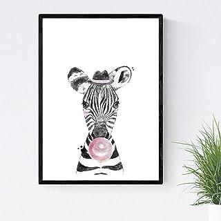 Lámina infantil Cebra infantil comiendo chicle Poster animales infantiles Tamaño A3 Sin marco