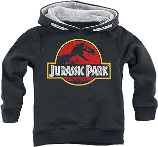 Jurassic Park Classic Logo Unisex Sudadera con Capucha Negro 140, 100% algodón, Rippbündchen Regular